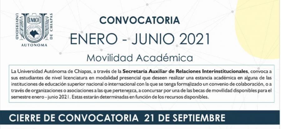 Convocatoria movilidad nacional e internacional enero-junio 2021